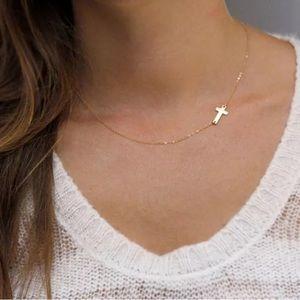 Gold Cross Necklace Sideways